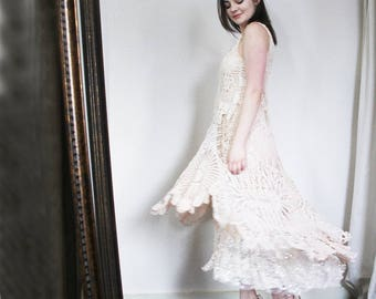 upcycled wedding dress - S - upcycled clothing, doiley dress, romantic dress, bespoke wedding dress