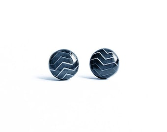 Black post earrings, zigzag stud earrings, black earrings studs