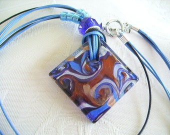 Necklace donut pendant diamond handcrafted, silver and blue glass on waxed cotton cord, clasp toogle, costume jewelry