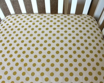 Metallic Gold Fitted Crib Sheet or Changing Pad Cover - Polka Dots on White - Gold Dot Crib Sheet