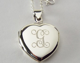 Custom Engraved Locket Personalized Sterling Silver Heart Locket 3/4 Inch  - Hand Engraved
