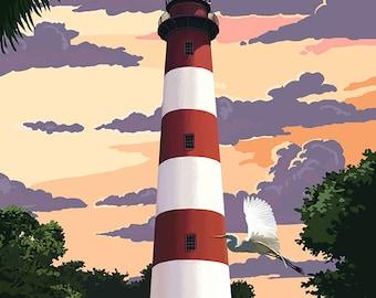 Assateague, Virginia - Lighthouse (Art Prints available in multiple sizes)