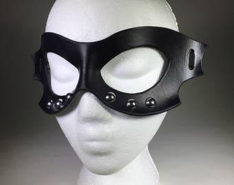Riveted Black Leather Bat Mask