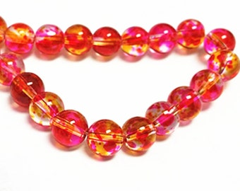 31 Inch Strand Of  Glass Spray Painted 6mm glass beads(over 130 beads)-10382