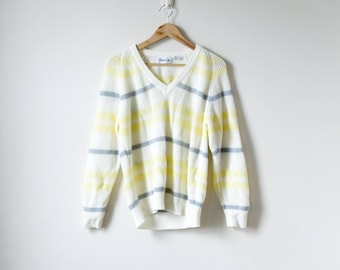 80s Pastel Striped Sweater - Yellow & Cream Sweater - 80s Sweater Vintage Sweater 80s Clothing - 80s Pastel Sweater - V-Neck Sweater Men's M