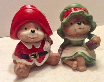 Vintage Homco Christmas teddy bears couple figurines.