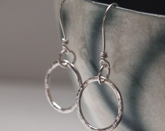 silver hoop earrings, silver hoops, earrings hammered sterling silver hoops, silver jewellery handmade by ARC Jewellery UK