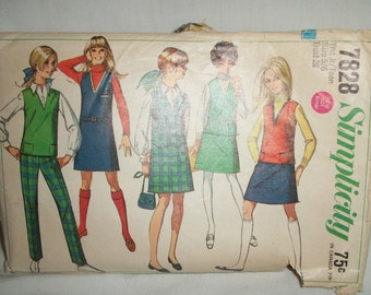 Simplicity Pattern 7828 Size 5/6 junior teen Bust 28