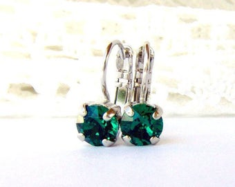 Emerald rhinestone leverback earrings / birthday gift / Swarovski / 6mm / bridesmaid / May birthstone / gift for her / girlfriend gift