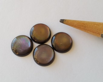 Gray Mother of Pearl MOP Cabs Cabochons 10mm 4pcs