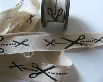Pattern scissors 2 meters Ecru linen tape / 25mm