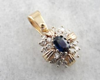 Glittering Glamor, Vintage Sapphire and Diamond Pendant 0RLRU1-N
