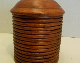 Hand Carved Wooden Container, Wooden Lidded Jar Made in India, Carved Wood Container with Lid, Round Wood Container, 4 inches Tall x 2 3/4