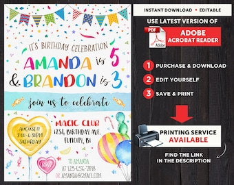 Birthday Invitations For Twins, Combined Birthday Invitation, Combined Invitation, Birthday Invitation For Two Kids, Siblings Birthday