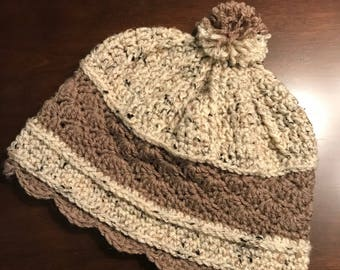 Tan and Oatmeal Hand-Crocheted Hat- Adult