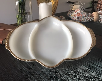 1960's Fire King (Anchor Hocking) Milk Glass Dish with Gold Trim