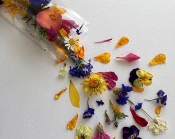 Dried Flower Wedding Confetti, Flower Girl, Biodegradable, Tossing Flowers, Wildflowers, Flower Petals, Dry Rose Petals, 100 Boxes or Bags