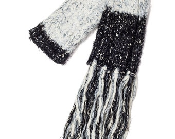 Hand knitted black and grey long scarf