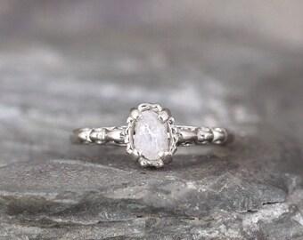 14K White Gold Raw Diamond Engagement Ring -Filigree Ring - Antique Styled Engagement Ring - April Birthstone -Uncut Rough Raw Gemstone Ring