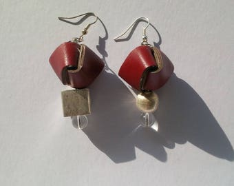 Weave Collection-leatherette, silver and crystal earrings