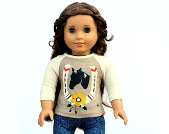 Fits like American Girl Doll Clothes - Horse Raglan Tee in Taupe   18 Inch Doll Clothes