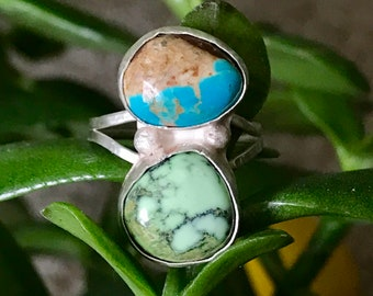 Damele and turquoise silver ring, size 7