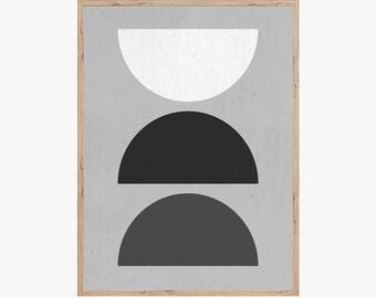 Mid Century Modern Art Print, Printable Wall Art, Semi Circles, Home Decor, Retro Art Print, Geometric, Minimalist art print, Scandinavian