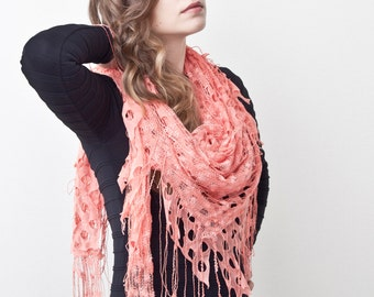 Coral Lace Shawl, Fashion Accessories, Gift Ideas, Cute Summer Scarf, Valentine's Day Gift, Many color variations
