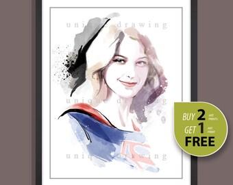 Supergirl poster, Supergirl portrait, Netflix movie poster, Melissa Benoist portrait, Marvel wall art, Nursery Decor, kid room decor, 3611