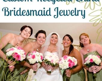 Custom Bridesmaid Jewelry - 4QTY Matching Recycled China Pendants