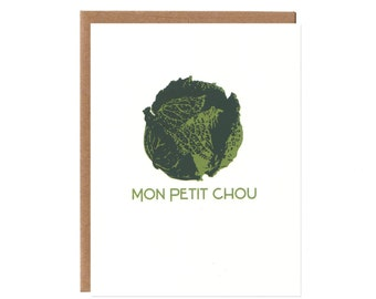 Mon Petit Chou -- Recycled White Card -- Friendship, Baby, Love