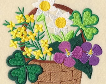 Lucky Blooms in a Basket Embroidered Flour Sack Hand Towel