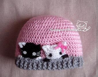 Curious Kitties Hat, New Born-Teen, INSTANT DOWNLOAD Crochet Pattern