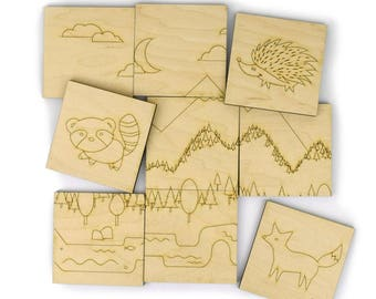 Woodland Animals Puzzle - Handmade Wood Toy - Wooden Puzzle - Montessori Toy - Memory Game