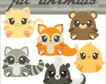 Animal Clipart -Personal and Limited Commercial Use- Kawaii Kitty, Fox, Raccoon, Chick, Skunk, and Bear