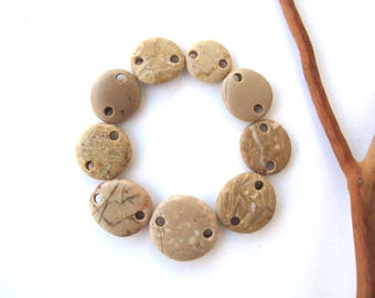 Rock Links Mediterranean Beach Stone Jewelry Links River Rock Beach Pebble Diy Jewelry River Stone Connectors Small BEIGE LINKS 15-21 mm