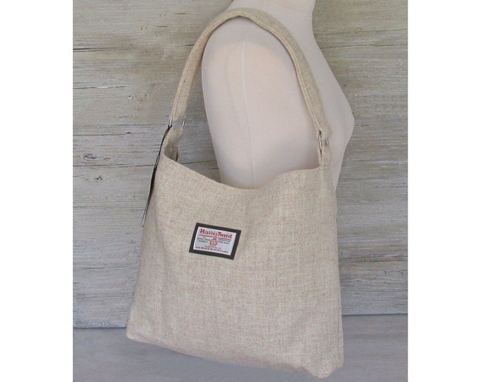 Harris Tweed Large Oatmeal Beige Slouchy Shoulder Bag