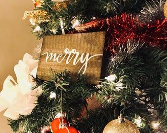 Christmas Wood Calligraphy Signs   Holiday Decor   Christmas Signs   Christmas Tree Decor