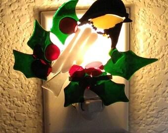 Chickadee Nightlight-Fused Glass Bird Nightlight-Glass Bird Nightlights-Bird Lamp-Bird Decor