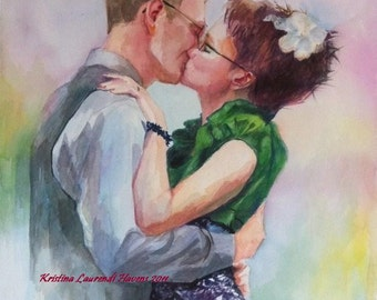 Custom Watercolor Portrait of the Bride and Groom