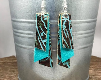 3 Layer Western Print with Turquoise - Leather Earrings