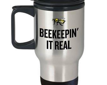 Beekeeping Present Idea - Gift For Beekeeper, Apiarist - Honey Bee Travel Mug - Beekeepin' It Real