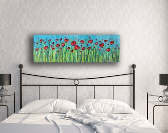 Red Poppies Painting, Flower Painting, Poppy Painting, Poppy Art, Abstract Flower Painting, Canvas Painting, Red Flower Painting