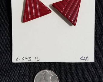 Vintage Earrings 1980's red triangle stud