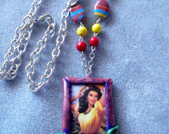 Lovely Ethnic Hispanic Senorita Lady Boho Beaded Bold Polymer Clay Long Necklace