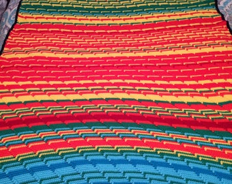 Weatherghan - Weather Afghan - Weather Blanket - Temperature Afghan - Temperature Blanket - Rainbow Blanket - 90 in. x 47 in.