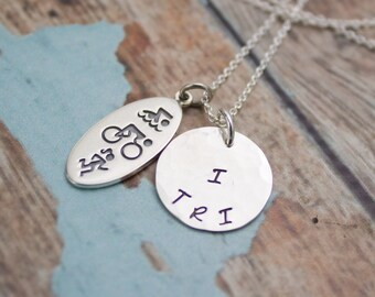 Triathlon Swim Bike Run I TRI Sterling Silver Hand Stamped Necklace