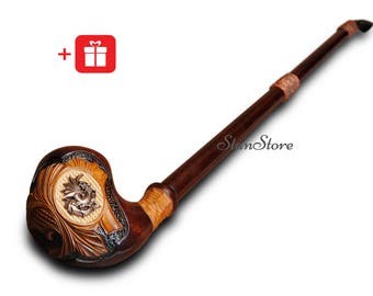 EXTRA LONG Stem Pipe Hand Carved Smoking Pipe Wooden Tobacco Pipe Metal DRAGON Pipe Tobacco Smoking Bowl Groomsmen Gift Custom Engraving