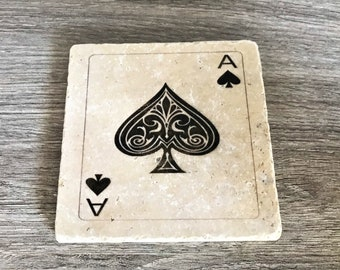 Ace of Spades Coasters, Ace of Spades, Playing Card Coaster, Gambling Coasters, Aces, Stone Cards, Card Coasters, Vegas Style, Ace Coaster