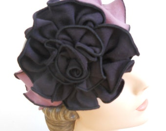 Flapper Headband with Giant Rose - Organic cotton and Hemp Jersey -Dusty Purple and Black - Party Madeline